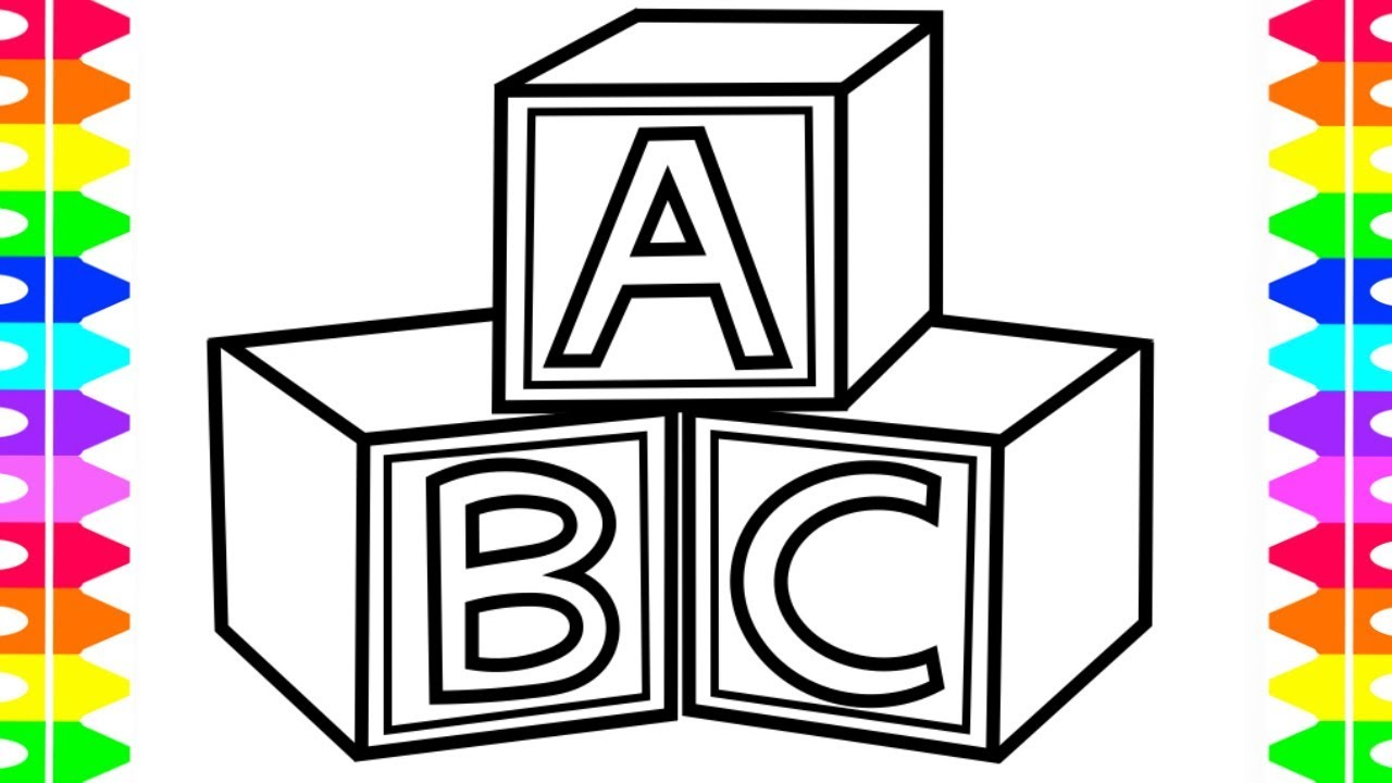 Abc blocks drawing at free for personal for Baby toys coloring pages