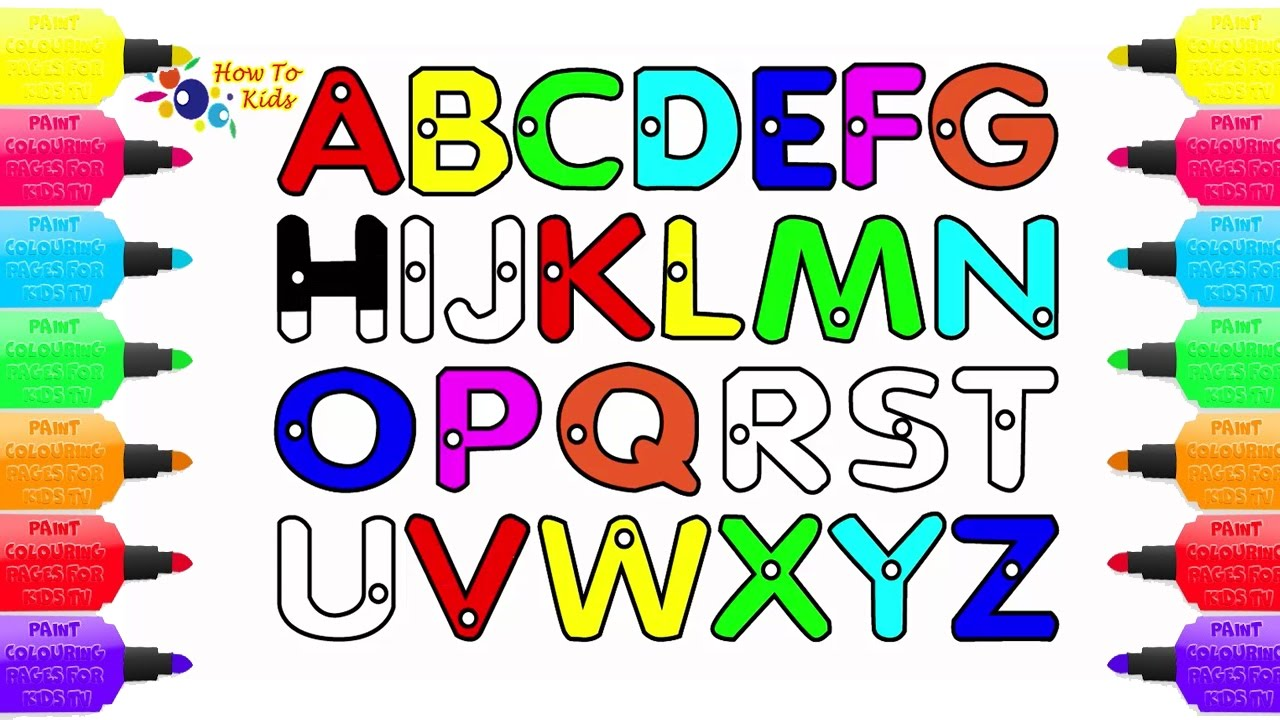 1280x720 Learn Colors For Kids With Alphabets Abc Drawing And Coloring
