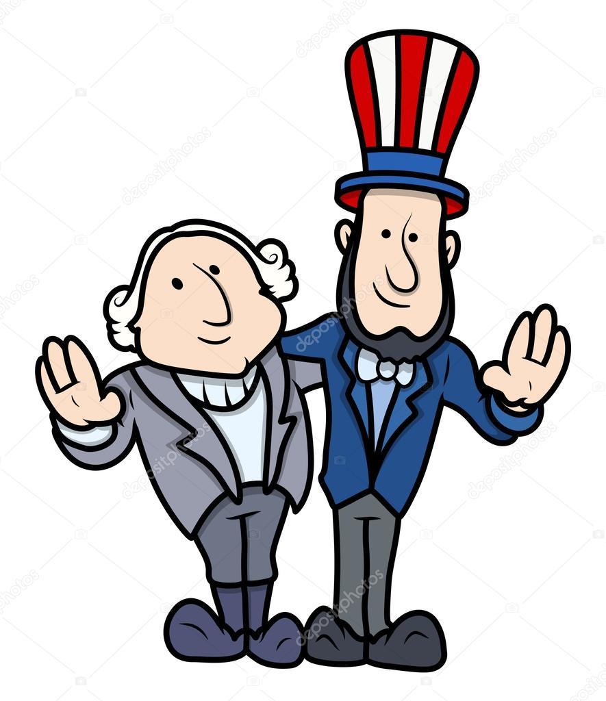 885x1024 Washington And Lincoln Vector Cartoons On Presidents Day