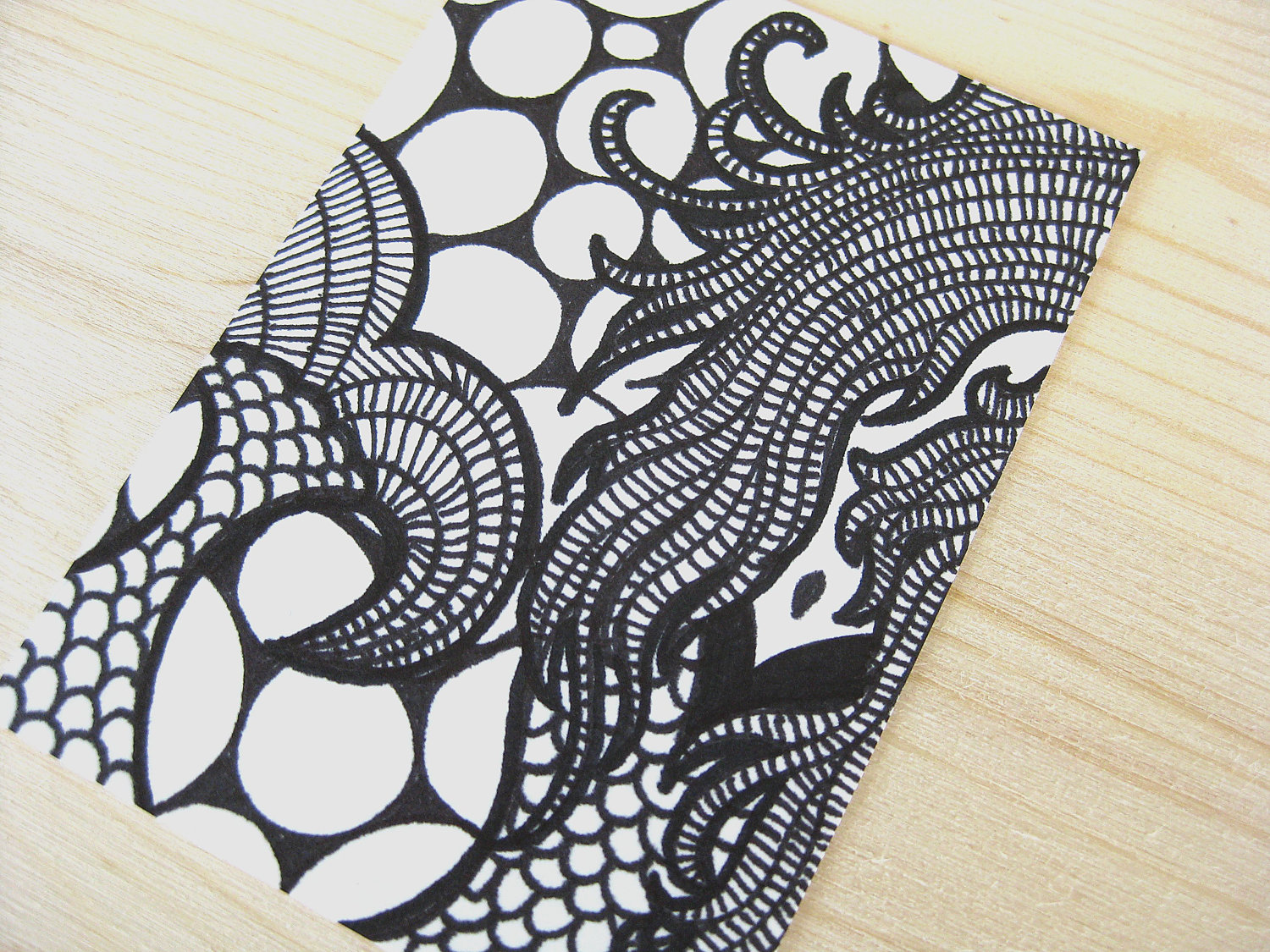 1500x1125 Original Aceo Atc Art Ink Abstract Drawing Black Amp White Elusive