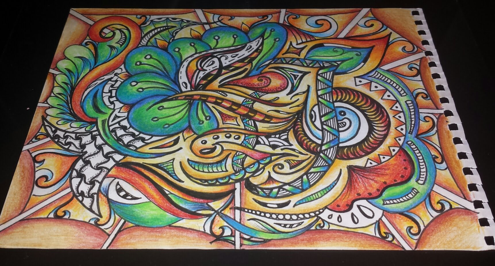 1722x926 Speed Drawing Zentangle Abstract Watercolor Pencils