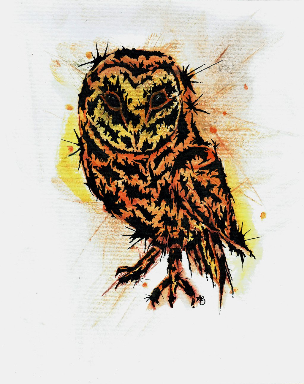 1024x1294 Abstract Owl Tattoo Designdrawing 27x35cm For Sal By Annvasart