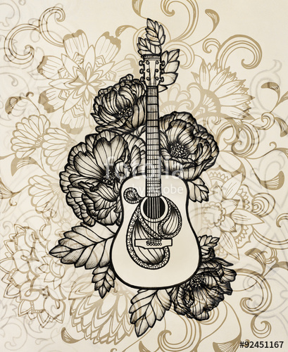 409x500 Acoustic Guitar With Flower Design, Hand Drawn Illustration