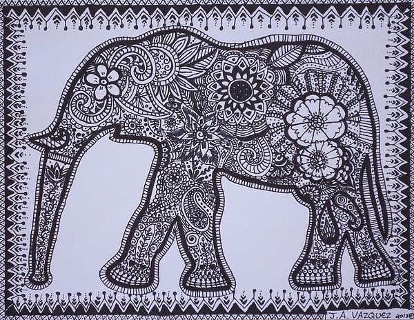 Mehndi Elephant Coloring Pages : Abstract elephant drawing at getdrawings free for personal