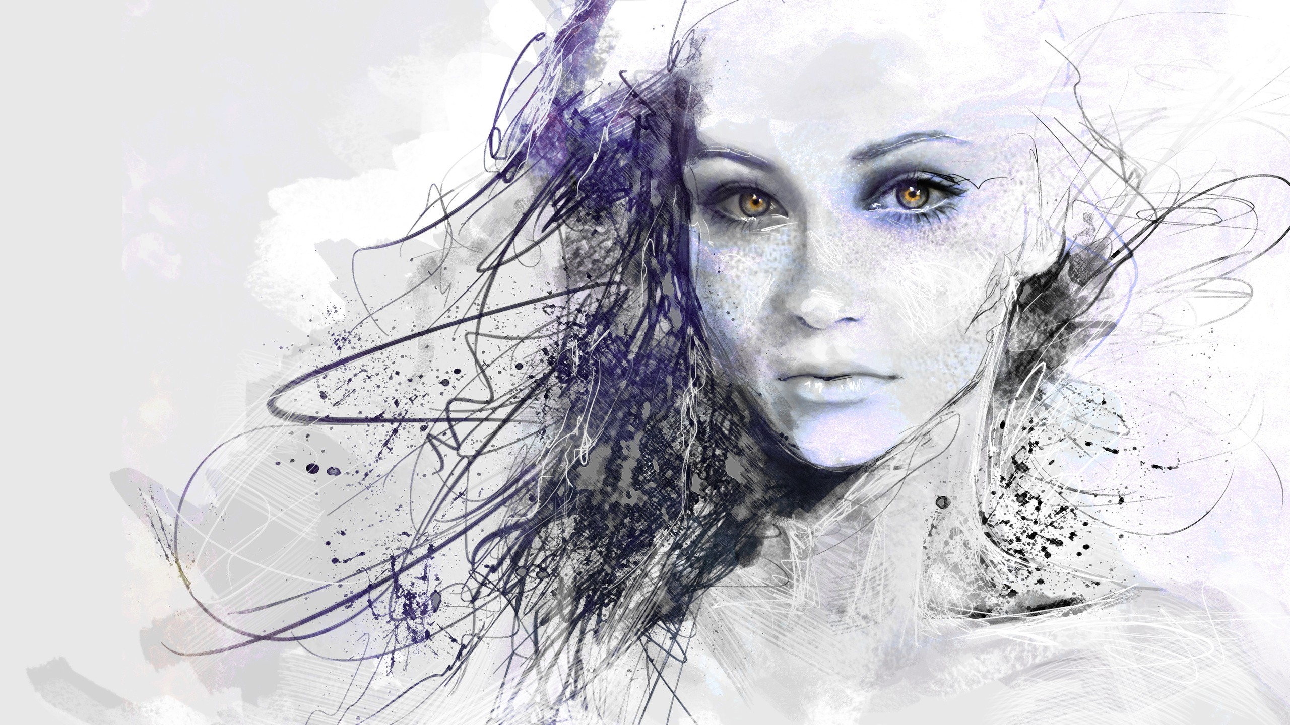 2560x1440 Wallpaper Face, Drawing, White, Digital Art, Women, Portrait