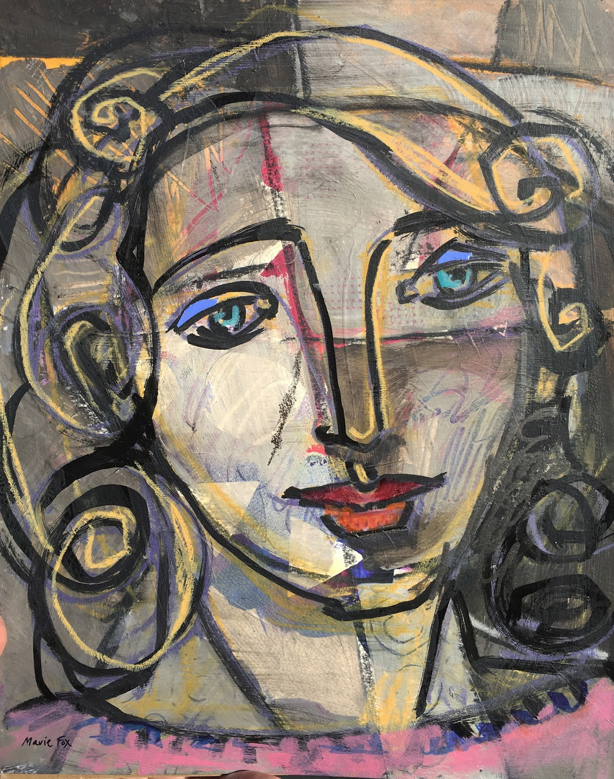 1262x1600 Picasso's Girl, Figurative Drawing Painting On Paper, Contemporary