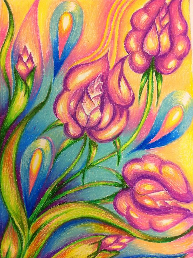 672x900 Abstract Drawings Flowers Drawing By Natasha Russu