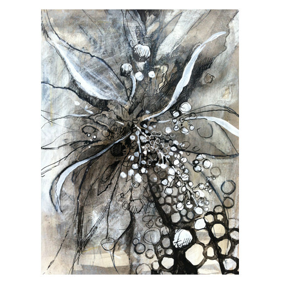 570x570 Mixed Media Abstract Flower Drawing On Etsy, $60.00 The Blooming