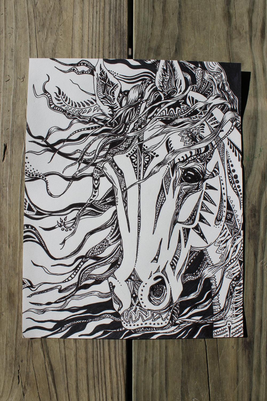 1000x1500 Abstract Horse Horse Head Wild Horse Horse Drawings Artbyadren