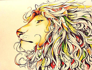 300x228 Abstract Lion Drawings Fine Art America