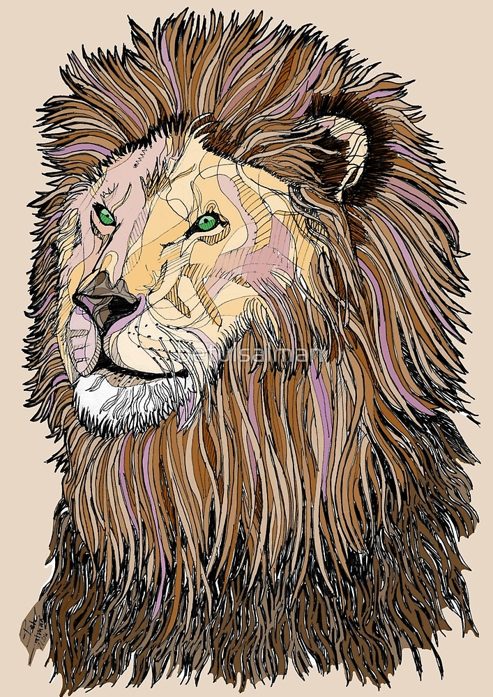 707x1000 Abstract Coloured Lion Line Drawing By Betulsalman Redbubble