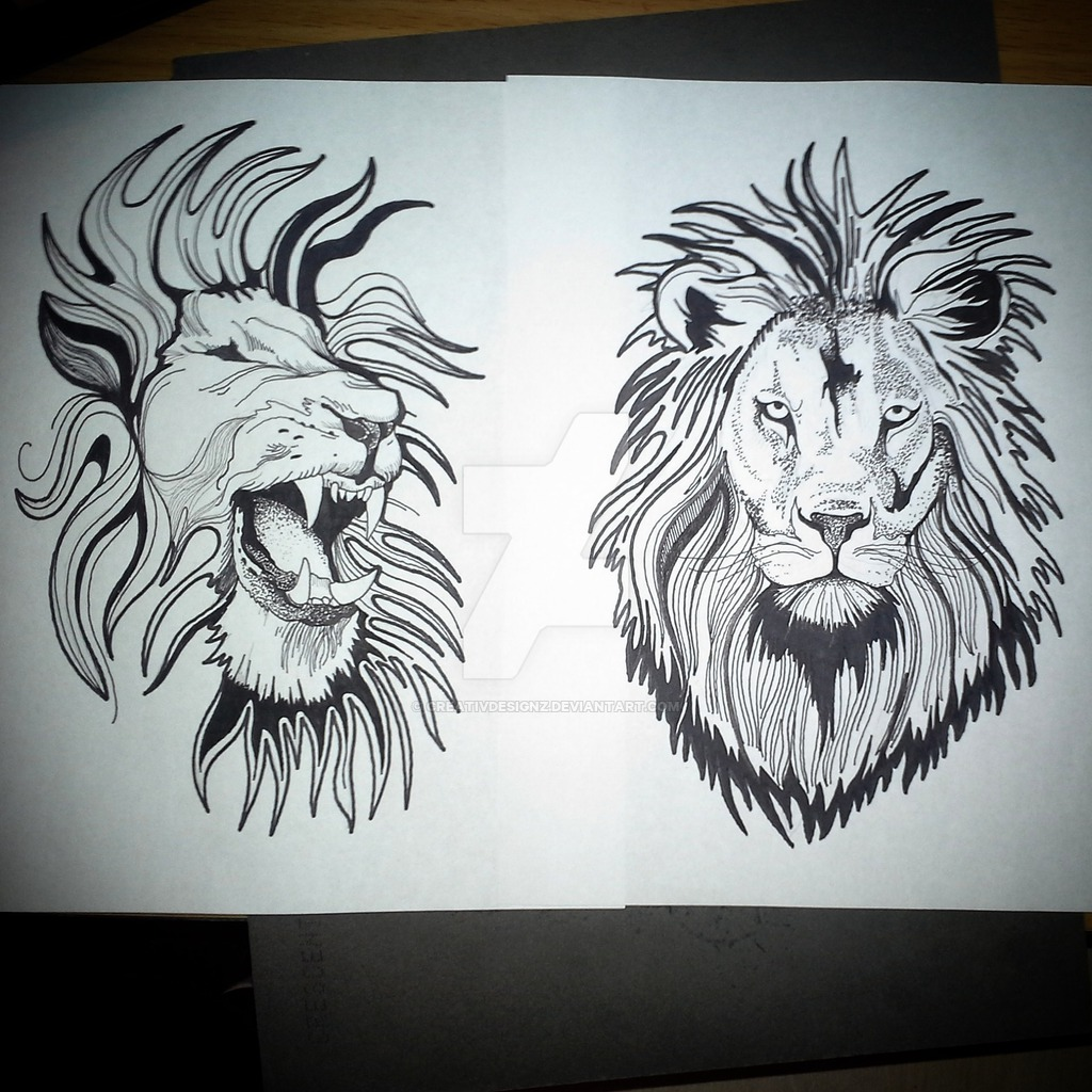 1024x1024 Lion Pen And Ink Drawing By Eric Johnson By Creativdesignz