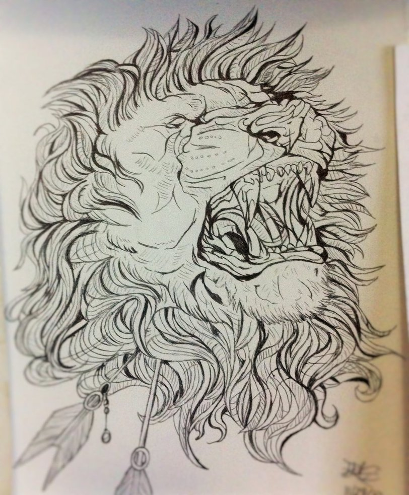 812x983 Pen Abstract Lion Drawing By Danibear509
