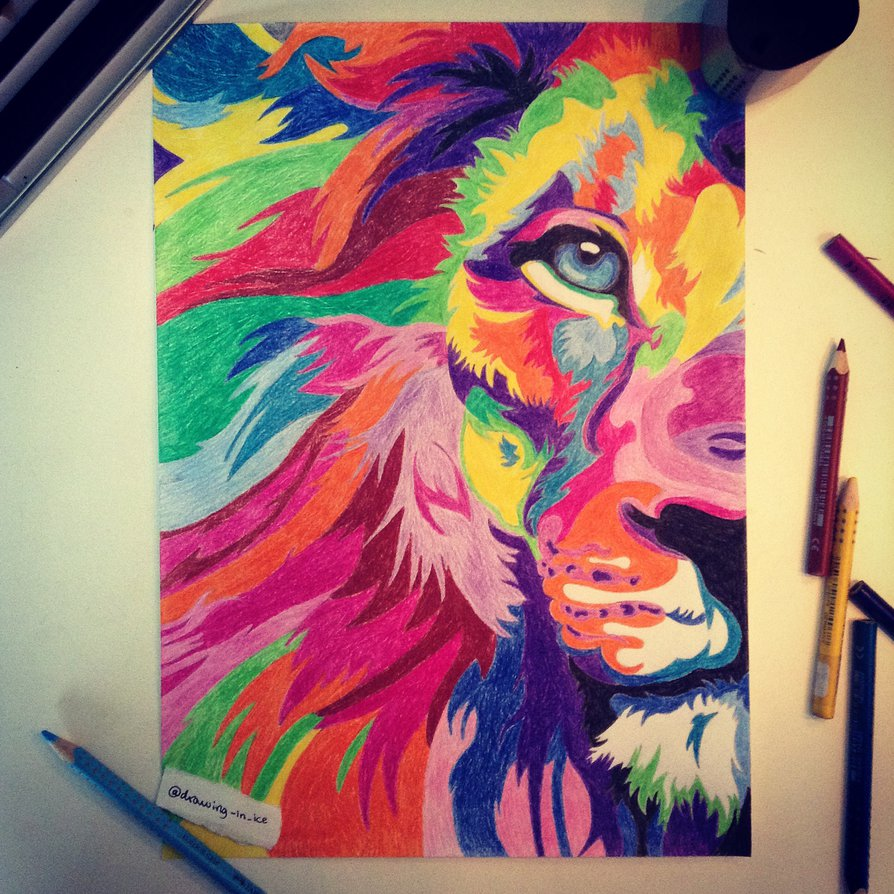 894x894 Rainbow Lion By Drawing In Ice