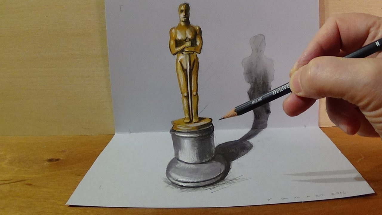 1280x721 Drawing 3d Oscar Award Statuette, Magic Art