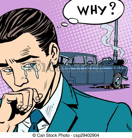 450x470 Man Cries Car Accident. Car Insurance Road Transport Vector