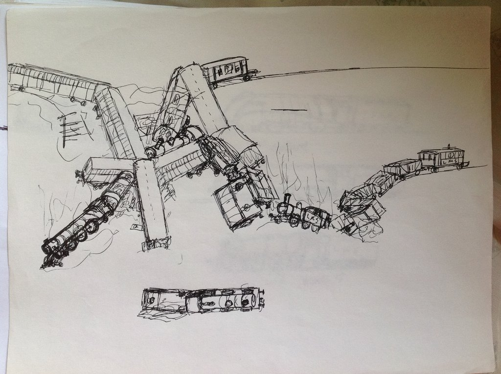 1024x765 Sketch Train Accident 2 By Drawing425