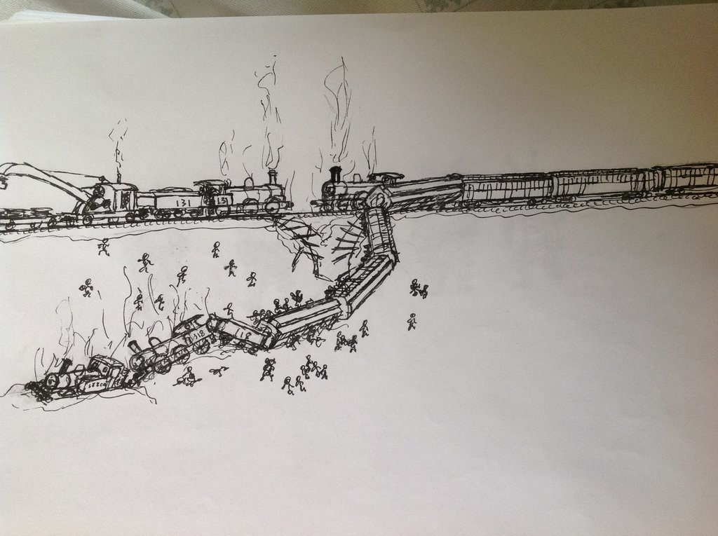 1024x765 Sketch Train Accident By Drawing425