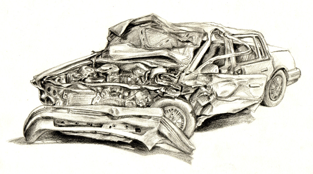 1000x558 Auto Drawings Crashed Car By Vicotnic On Art