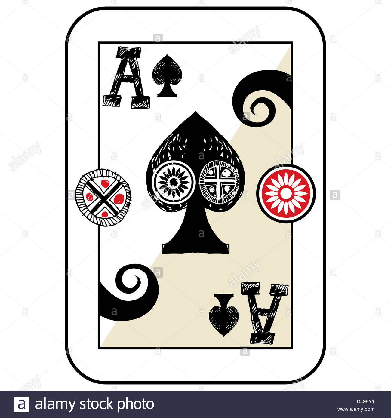 1300x1390 Hand Drawn Deck Of Cards, Doodle Ace Of Spades Stock Photo