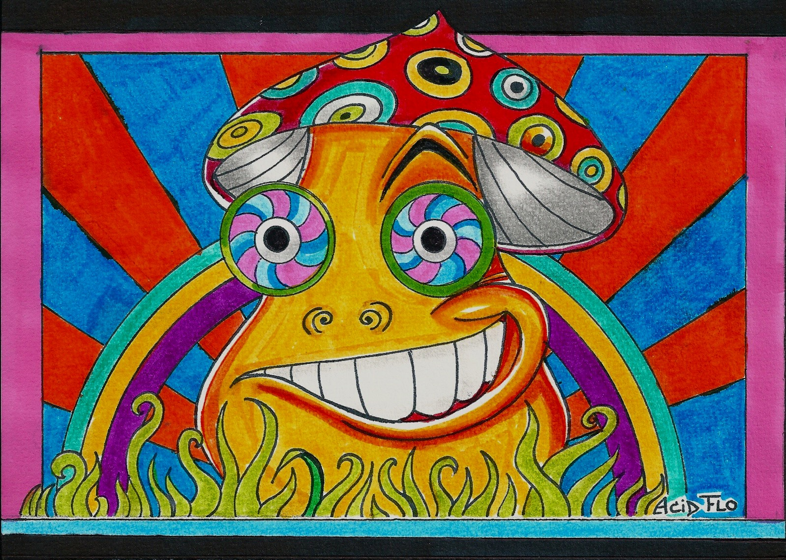 1598x1139 Happy Shroom By Acid Flo