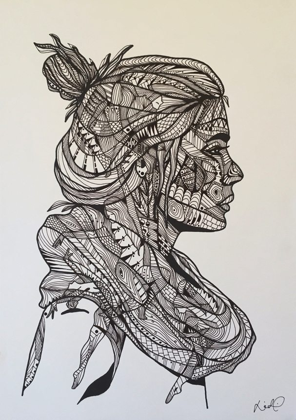 607x863 Hand Drawn Original. Made With Pen, On 200g Heavy, Textured, Acid