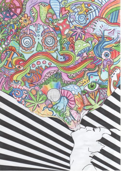 500x707 Love Drawing Art Trippy Cool Hippie Weed Smoke Bong Lsd Eye