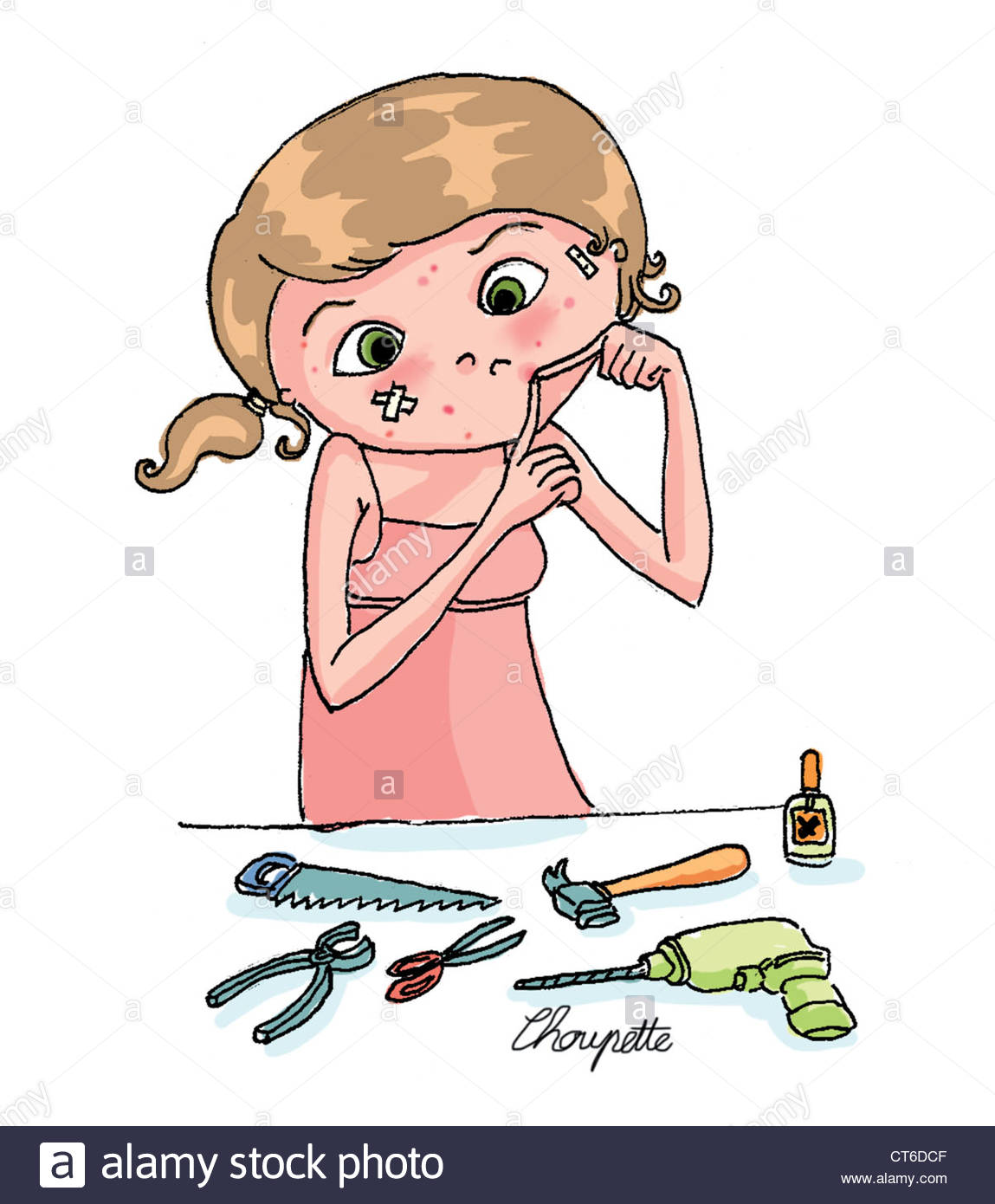 1149x1390 Acne, Drawing Stock Photo 49314735