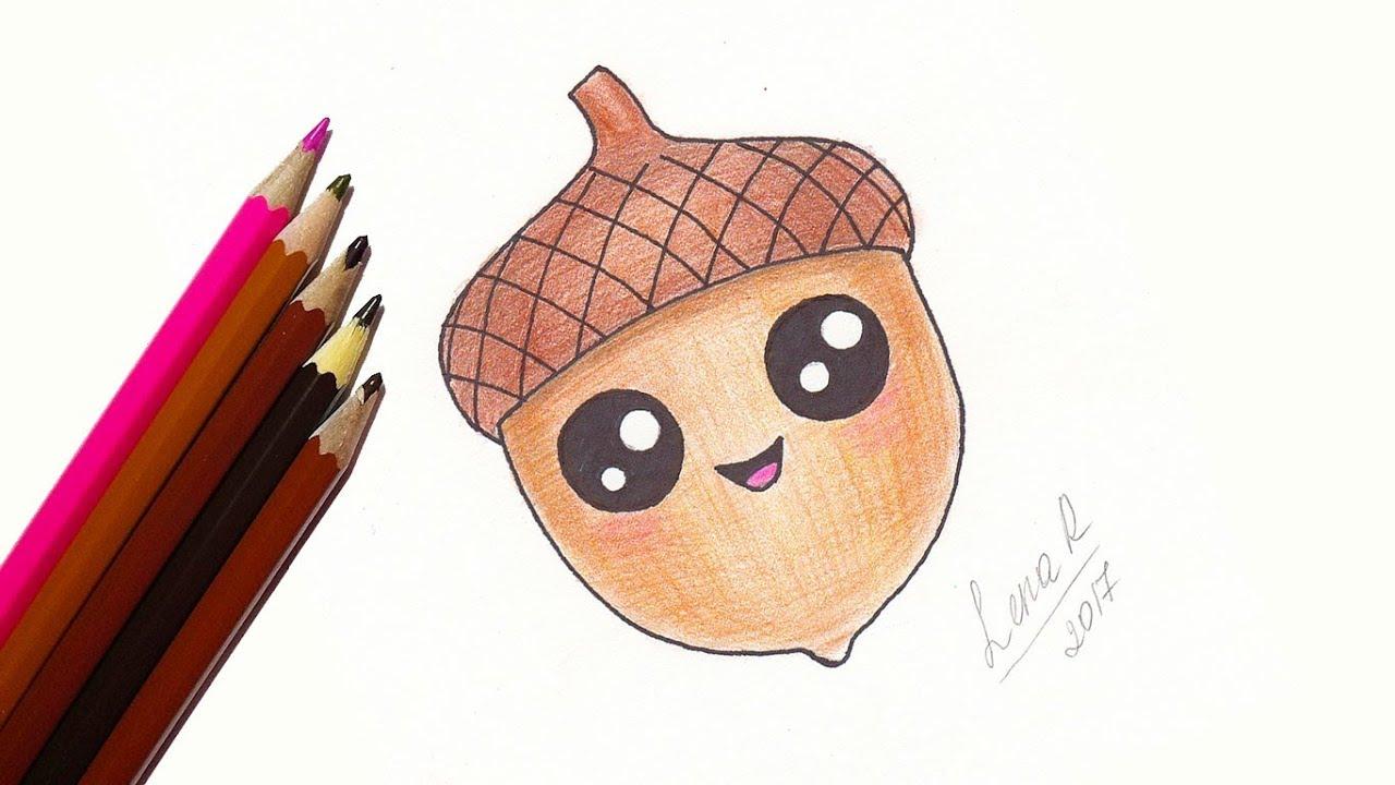 1280x720 How To Draw A Cute Cartoon Acorn