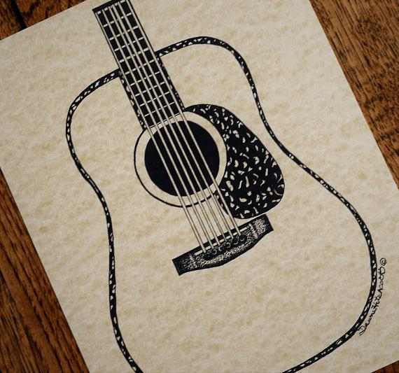 570x533 Martin Guitar Art Martin Guitar Martin Pen N Ink Guitar
