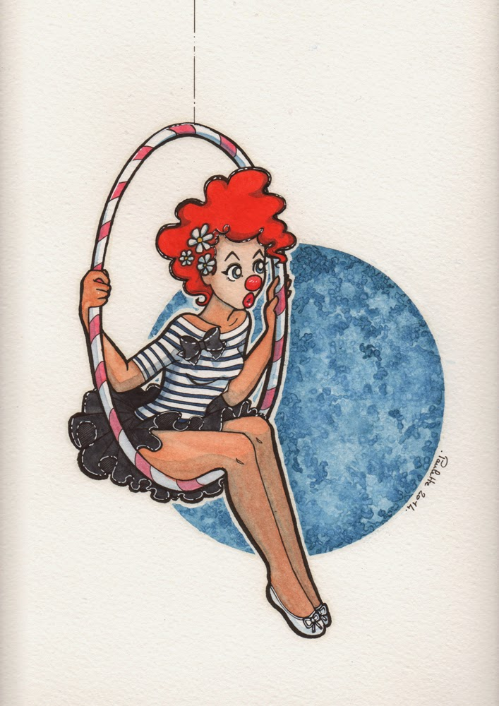 Art: Maria Pace-Wynters on Pinterest | Mixed Media ... |Circus Girl Art Print