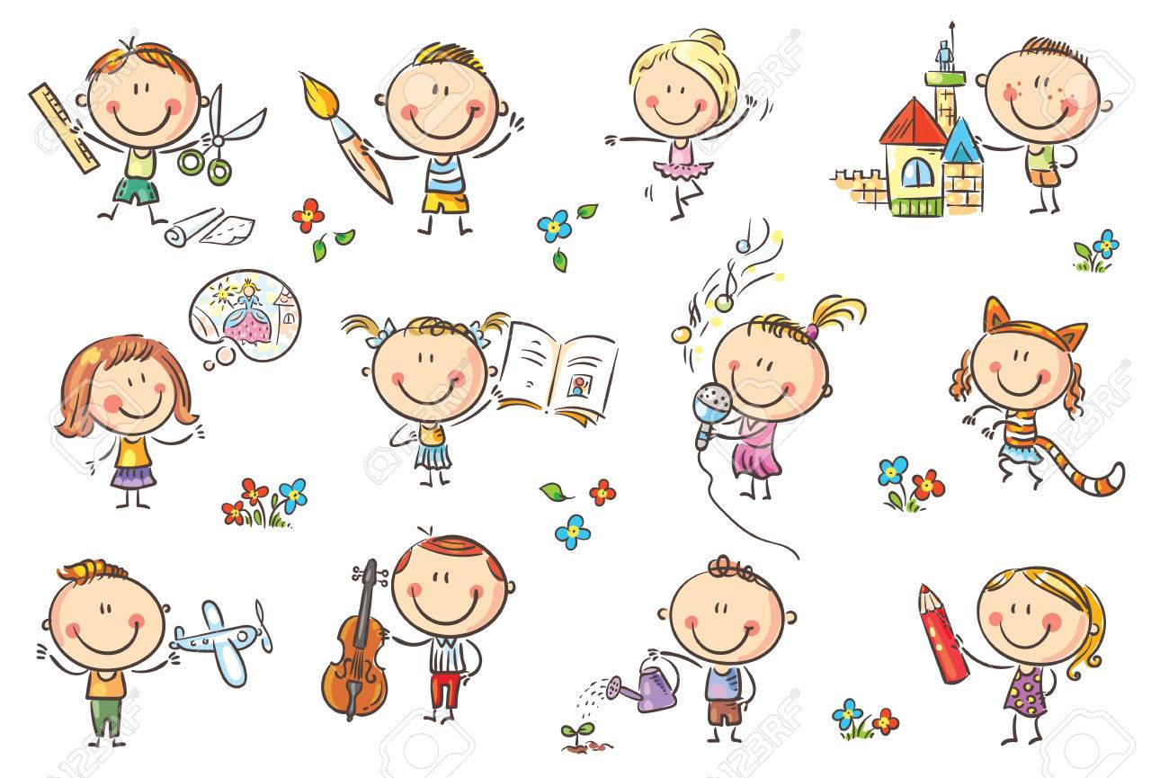 1300x865 Funny Cartoon Kids Engaged In Different Creative Activities Like