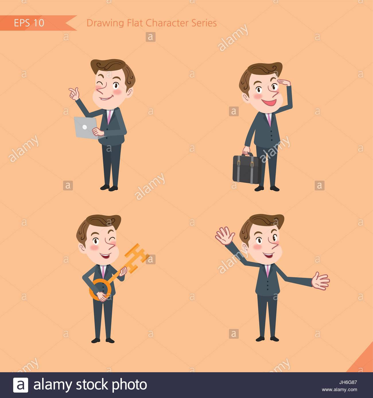1300x1390 Set Of Drawing Flat Character Style, Business Concept Young Office