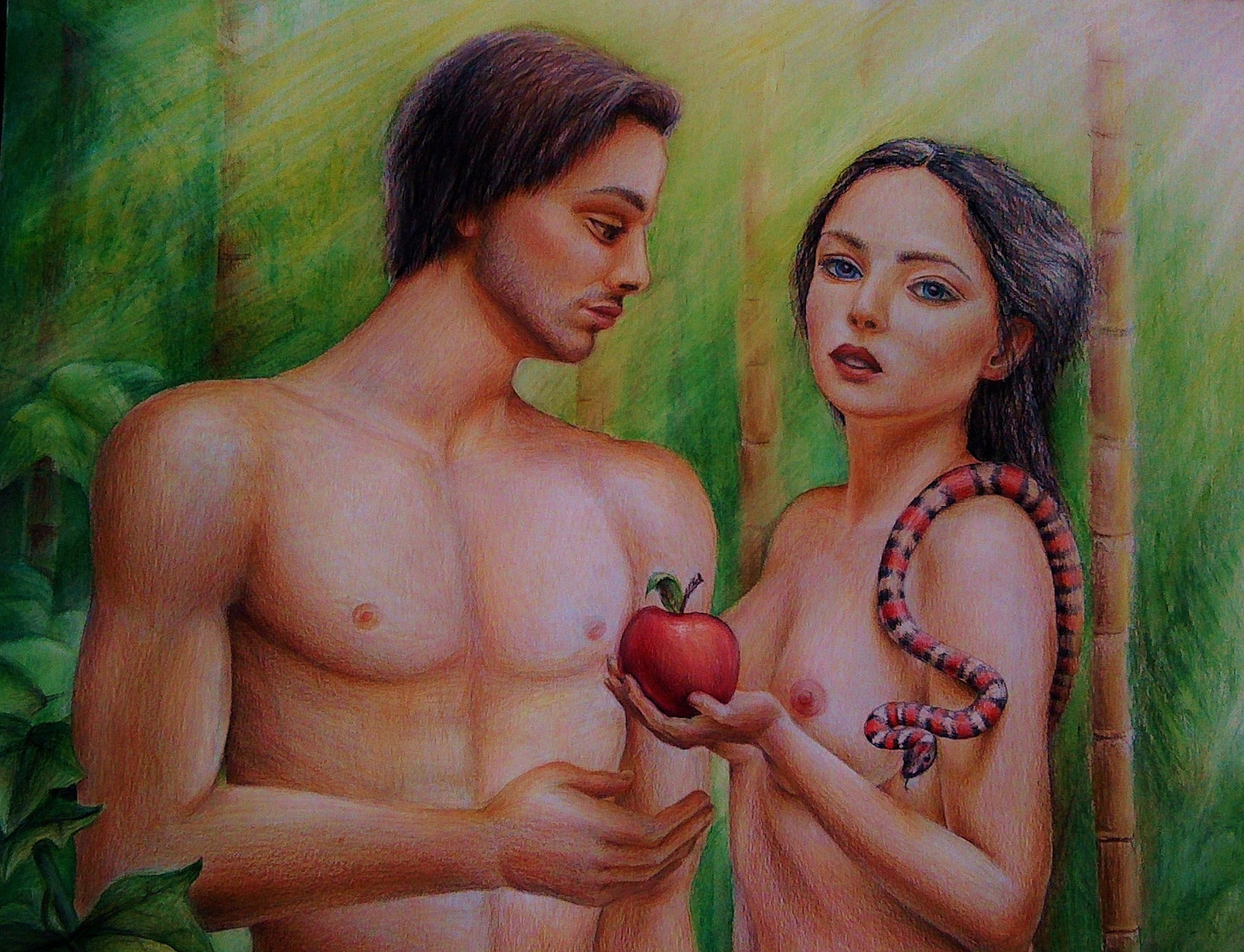 2365x1810 Speed Drawing Adam And Eve (The First Sin)