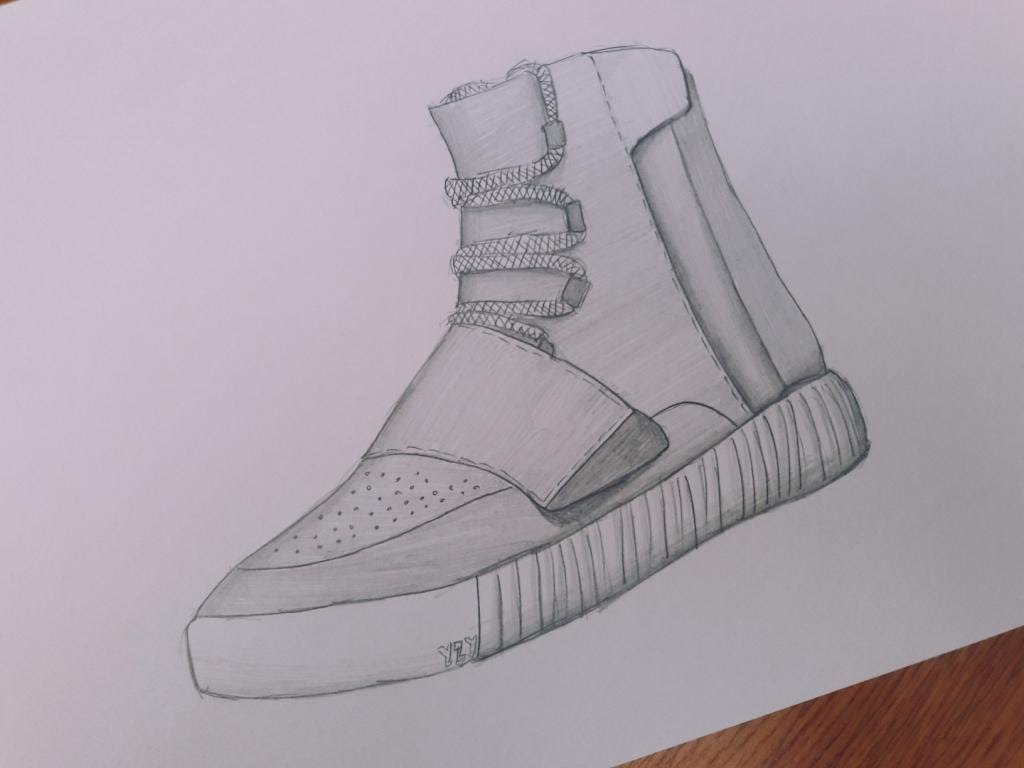 1024x768 Adidas Yeezy Boost 750 Drawing