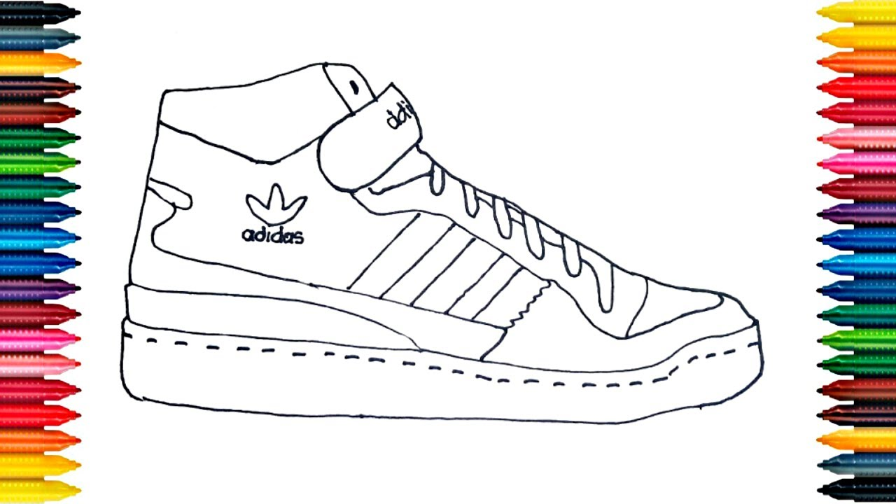 1280x720 Drawing Adidas Boots How To Draw Shoes Colours For Kids