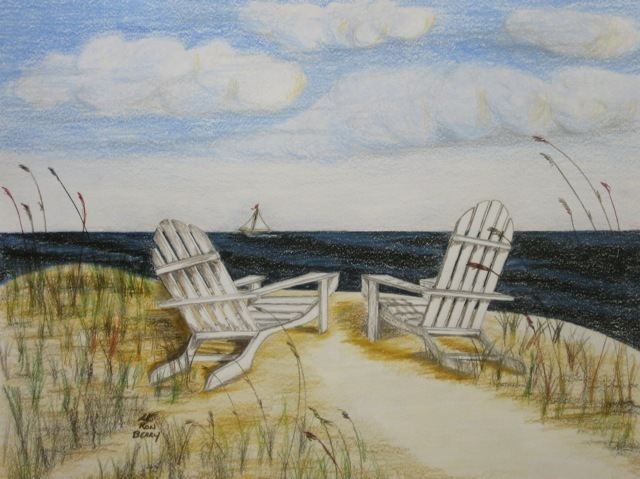 640x479 Ron Berry Artwork White Adirondack Chairs Alone Original