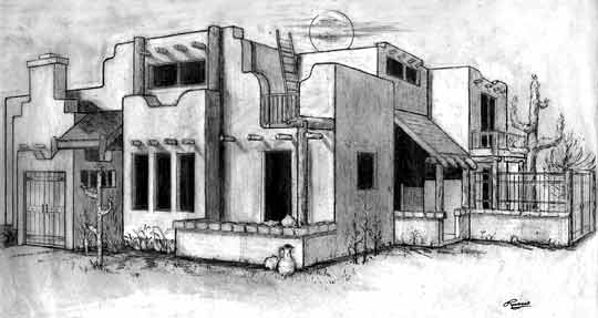 540x287 House Plan Specifications For Southwest S 901 Santa Fe Style Adobe