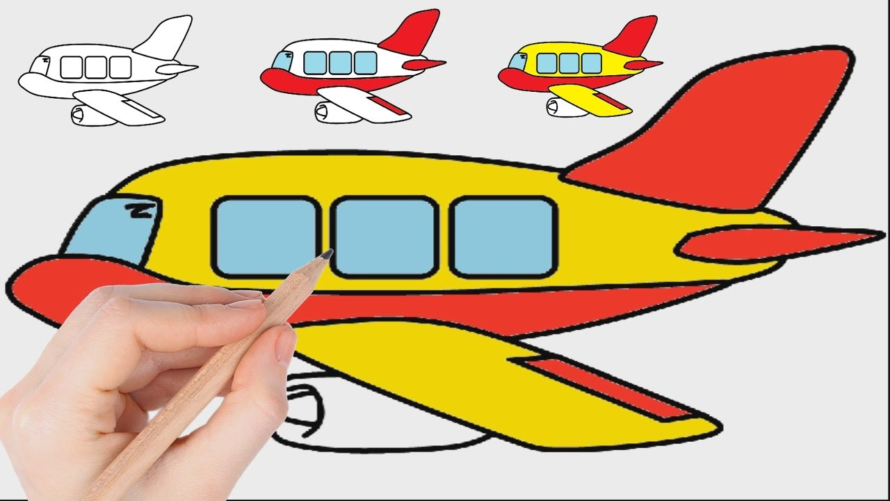 1280x720 Airplane Coloring Pages For Kids To Learn Colors L Drawing