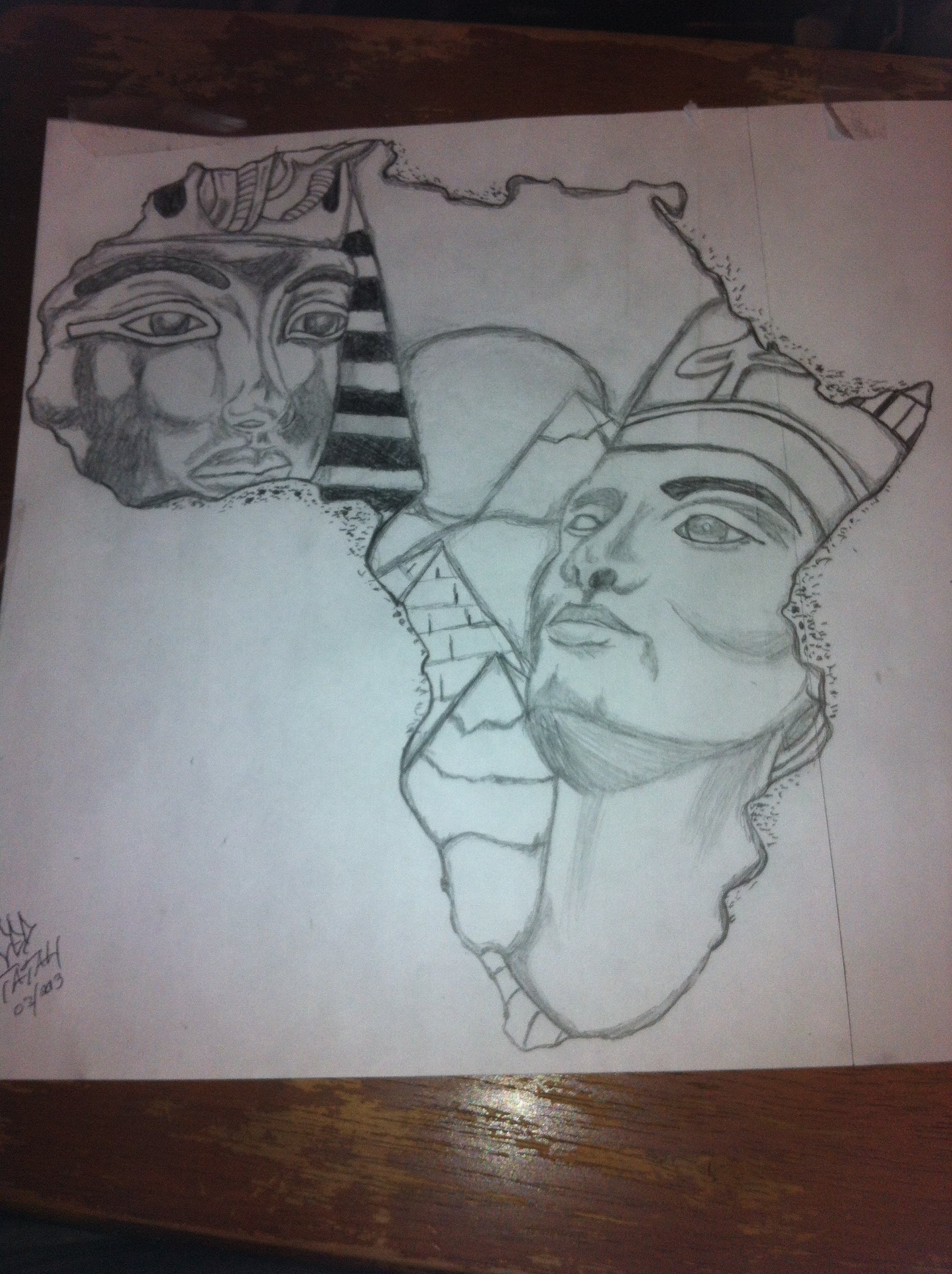 1936x2592 King Tut And Queen Nefertiti Africa Outline Drawing By Ced Tatau