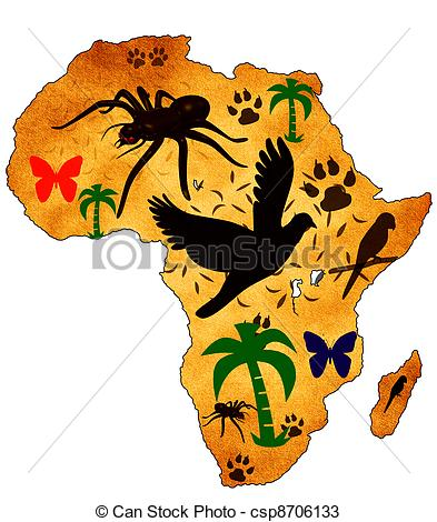 393x470 Wild Africa. Map Of Africa With Pictures Of Animals Drawings