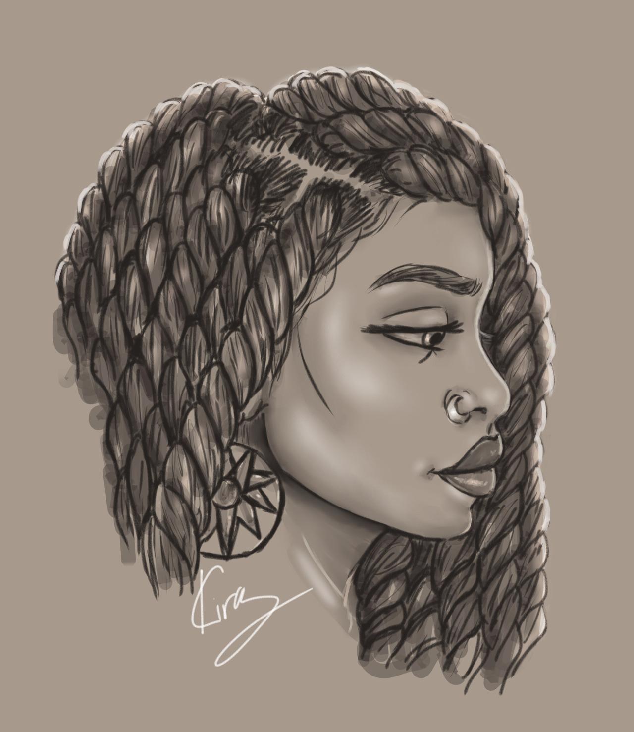 1280x1477 Black Woman Drawing Drawn Woman Afro