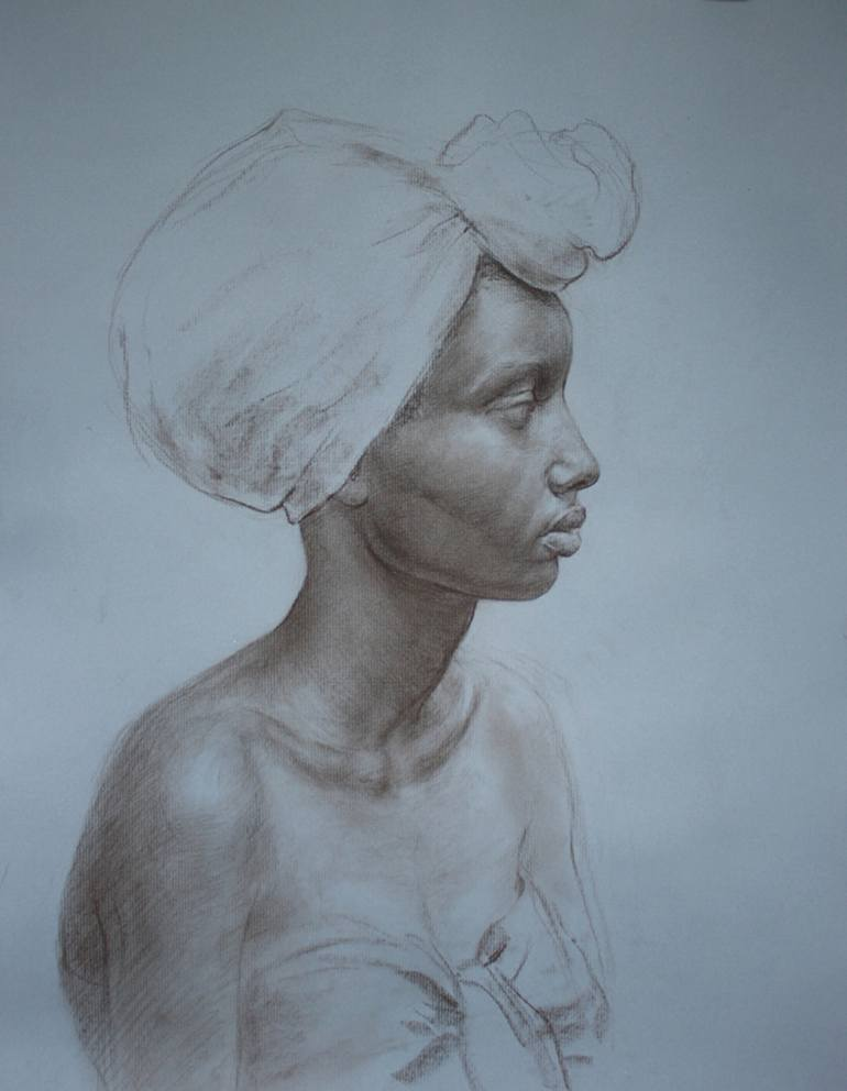 770x992 Saatchi Art Portrait Of African American Woman Drawing By Elena