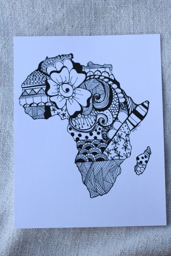 570x855 Africa Zentangle Print By Nickolettamay On Etsy Ready To Frame! $8