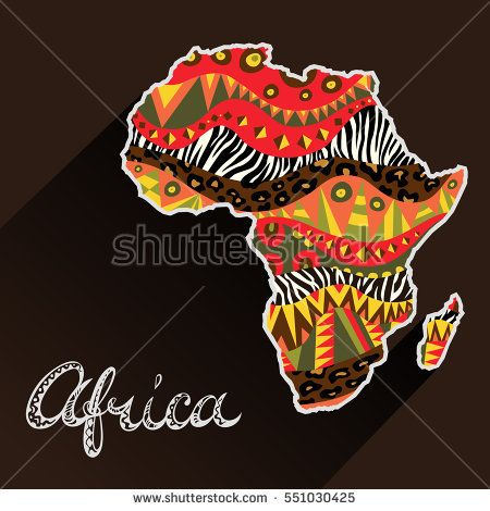 450x470 Africa Ornate Continent And Hand Drawn Title. Doodle Style