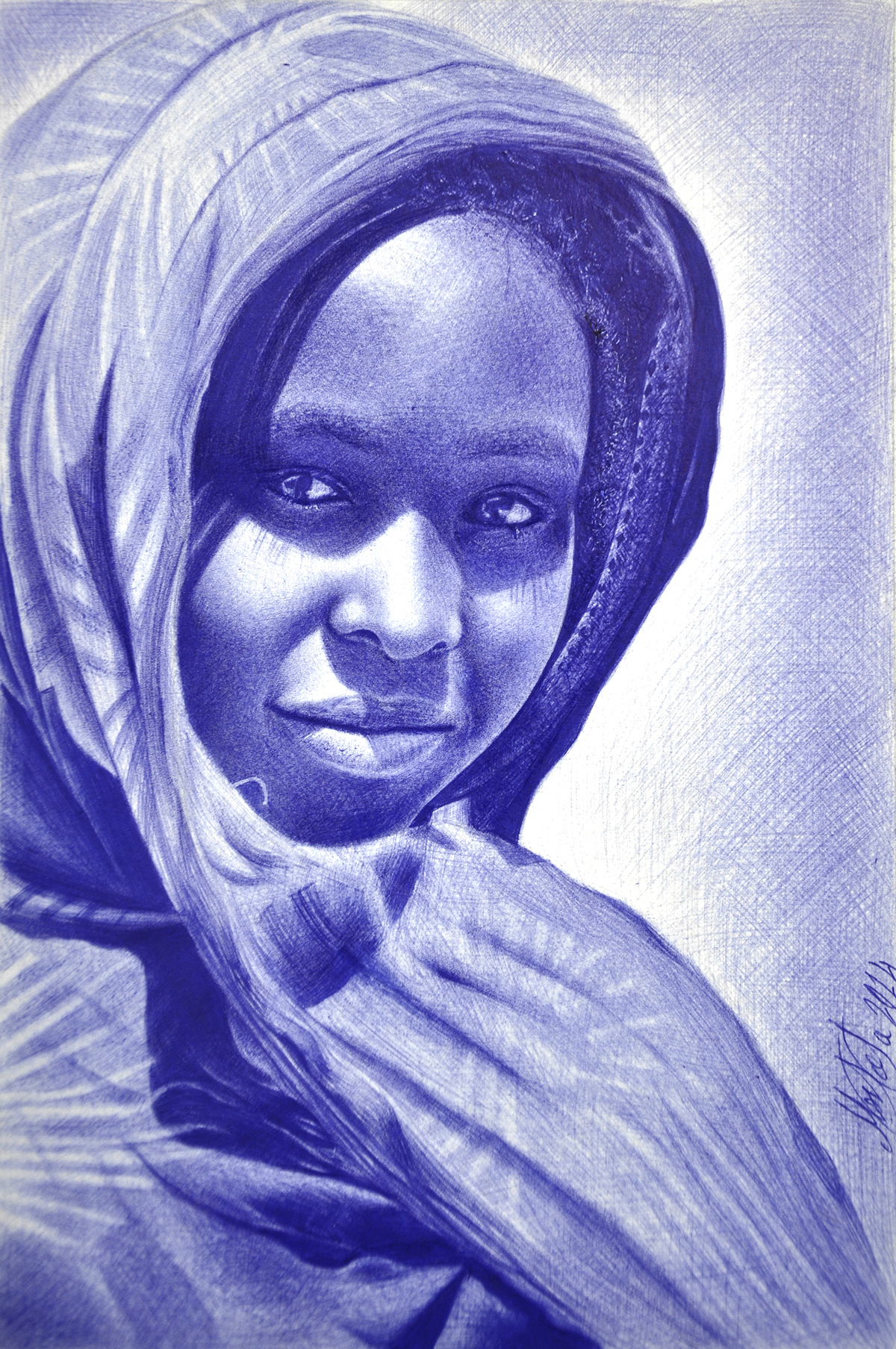 1200x1807 African Girl With Ballpoint Pen By Me On Behance