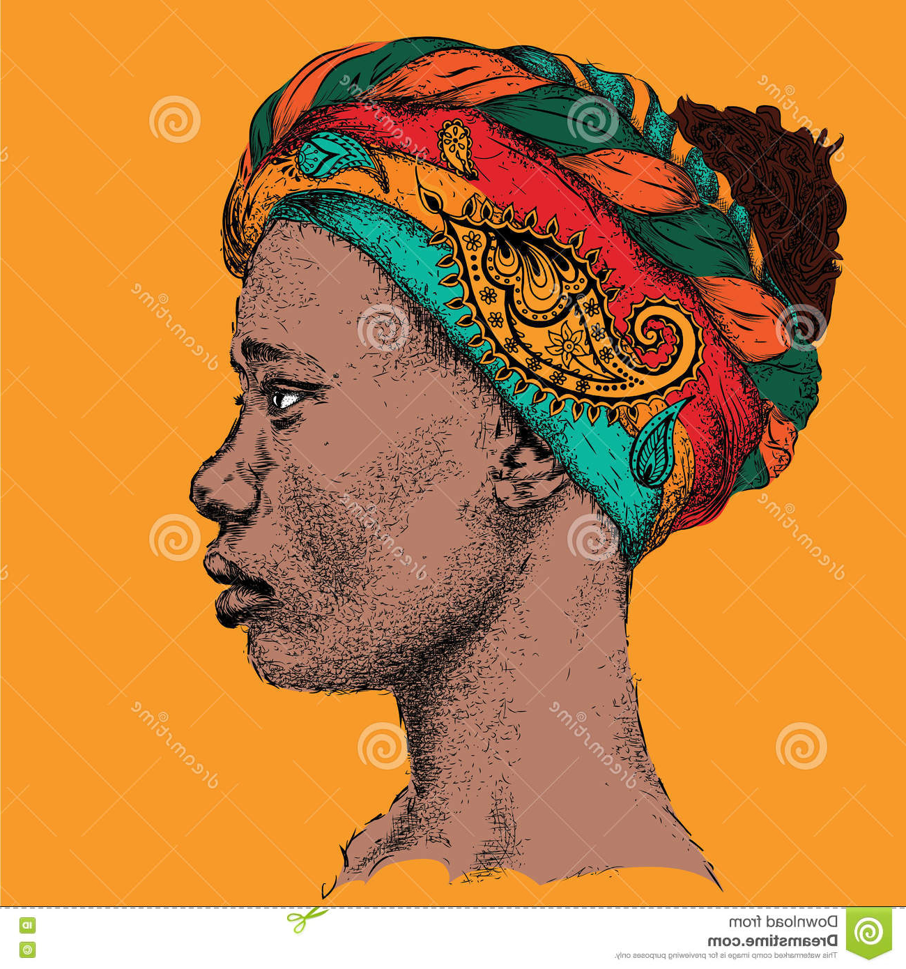 1300x1390 Profile Drawing African Girl Girl In Turban With African Hand Draw