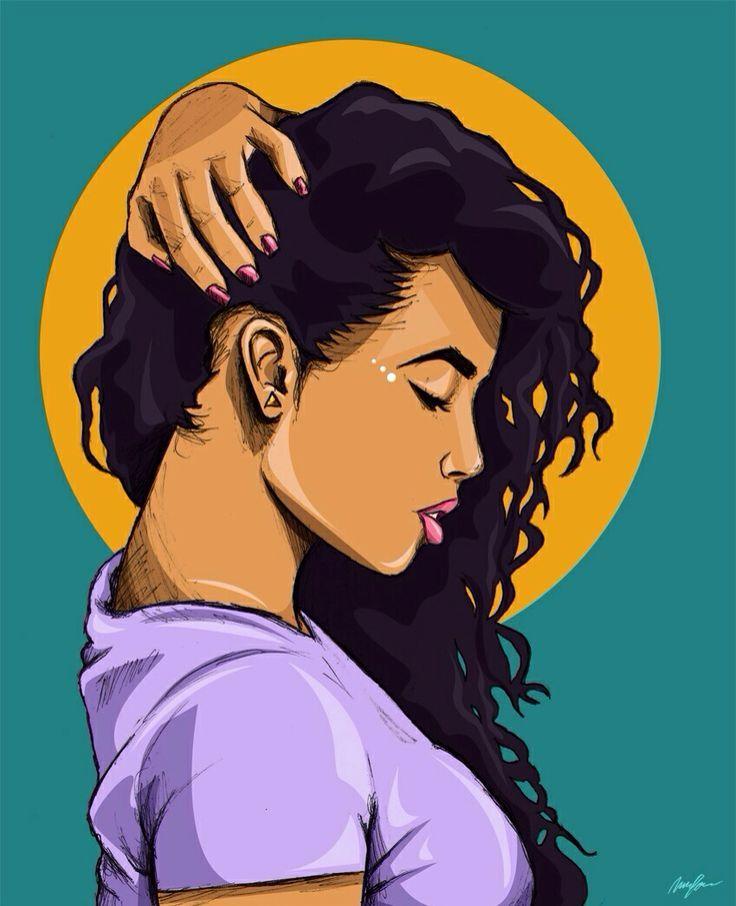 736x906 African American Swag Girl Drawing