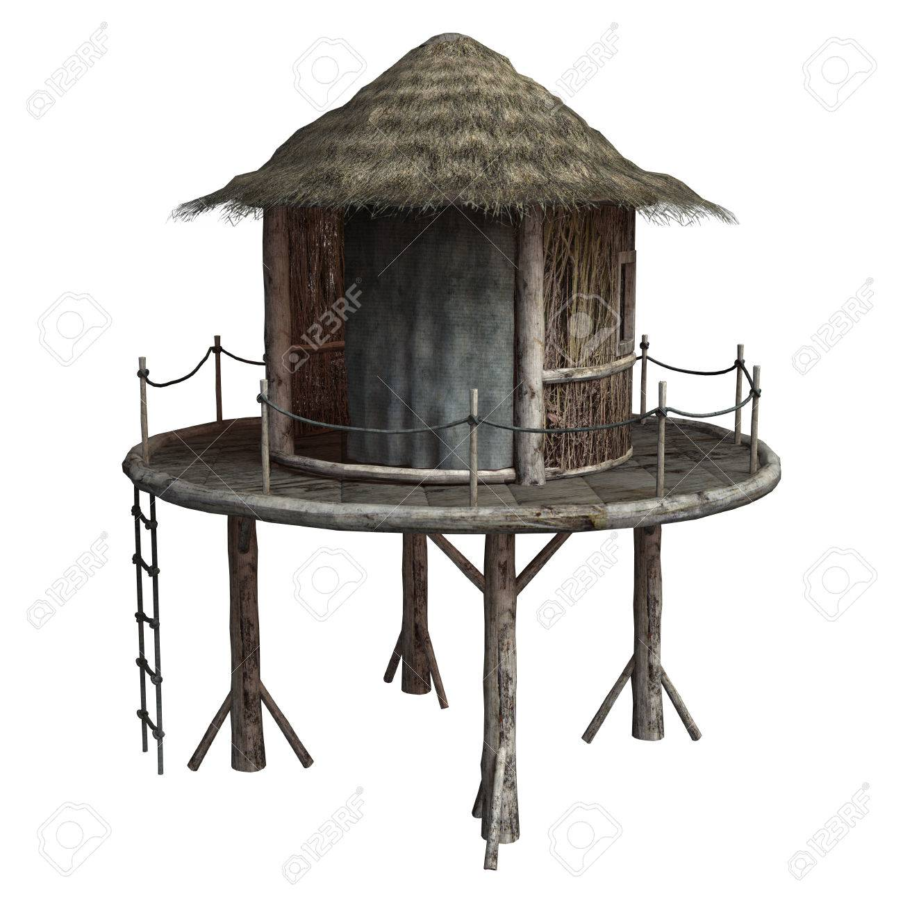 1300x1300 3d Digital Render Of An African Tribal Hut On White Background