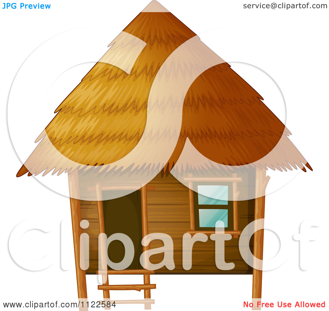 1080x1024 African Hut Drawing